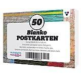 50 Blanko Postkarten / Karton weiß, extra fest (350 g/qm) / DIN A6 Format / Schnell trocknend / Be-malen / Zeichnen / Schreiben / im S