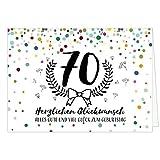 Große Glückwunschkarte zum 70. Geburtstag XXL (A4) Modern/mit Umschlag/Edle Design Klappkarte/Glückwunsch/Happy Birthday Geburtstagskarte/Extra Groß/Edle Maxi Gruß-Karte