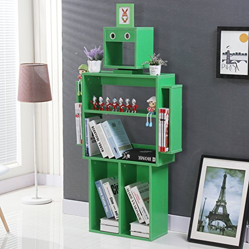 JX&BOOS Kinder bücherregal,Bücherregal magazin spielzeug storage rack dekorative rack bibliothek student kindergarten kreative roboter bücherregale-C 76x24x140cm(30x9x55)