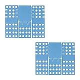 2x Wäschefalter 3. Generation, klappbar, Faltbrett für Shirts, Hemden, flexibel, Flip, Fold, B x T: 68 x 57 cm, blau