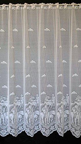 Tenda della finestra mucche u. pastori di montagna altezza 120 cm | può scegliere la larghezza in segmenti da 19 cm, come vuole | colore: bianco | tendine cucina