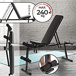 Banco de Musculación - Plegable & Ajustable (Respaldo de 9 posiciones, Asiento de 3 posiciones), Soporte para Piernas, Carga máx. 240 kg - Banco de Pesas