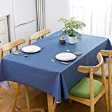 HM&DX PVC Tischdecken Wasserdicht Ölfreie Schmutzabweisend Tischtuch schutzfolie Folie Einfarbig Minimalistischen Kaffee Tisch Verkleidung-Blau 120x170cm(47x67inch)