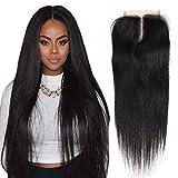 Wendy Hair 9A Grade 10,2x 10,2cm mittleren Teil gerade Echthaar Lace Closure natur schwarz Farbe 100% unbehandeltes brasilianisches Echthaar gebleicht Knoten seidig glattes Haar (25,4cm)