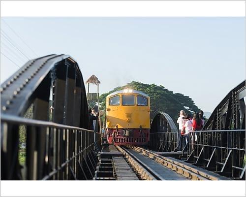 20x16 Print of Train crossing the Bridge over the River Kwai, Kanchanaburi, Thailand (12076399)
