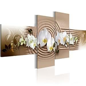 Bilder 200x90 cm - XXL Format - Fertig Aufgespannt - TOP - Vlies Leinwand - 4 Teilig - Wand Bild - Kunstdruck - Wandbild - Blumen 051396 200x90 cm