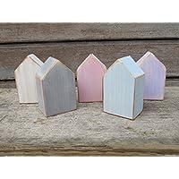 Set Shabby Chic Holzhäuser 5 Mini Holzhäuser.