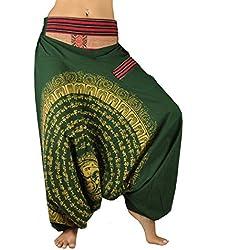 Pantalones Bombachos para Hombre y Mujeres Entrepierna caída con Mandala Dibujado a Mano
