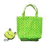 Suboer Frosch Faltbar ECO Taschen wiederverwendbare Einkaufstaschen Tote (Grün)