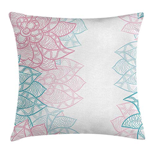 VTXWL Floral Throw Pillow Cushion Cover, Large Flower Petal in Pastel Tone Elegance Spring Beauty Embellished Design, Decorative Square Accent Pillow Case, 18 X 18 Inches, Sky Blue Light Pink -