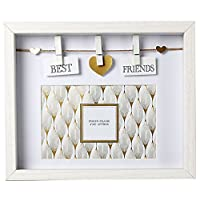 Carousel Home Best Friends White and Gold Wooden Box Photo Frame