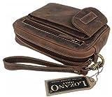Lozano Herren Echt-Leder kleine Tasche Handgelenktasche Organizer Reisebrieftasche Herren-handtasche Herrentasche aus hochwertigem Leder Vintage braun 2001