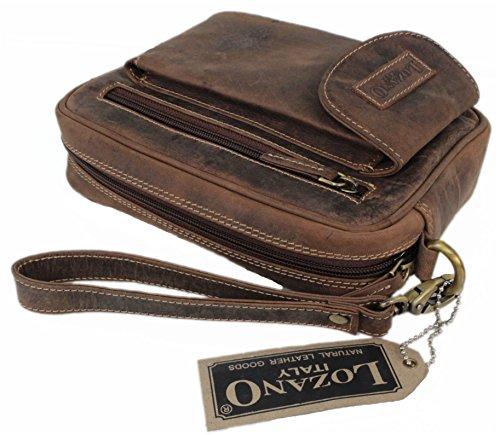 Lozano Organizer/Handgelenktasche aus naturgegerbtem geöltem Büffelleder / Leder Vintage Look 2001