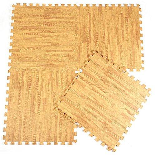 Kungfu Mall 10pcs alfombrilla de goma EVA grano de madera suelo alfombras Split Joint Puzzle alfombra