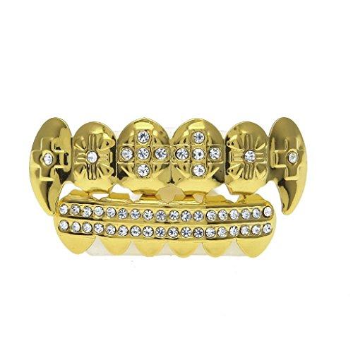 LANDFOX 24 Karat reales Gold überzogene Vergoldung, Lebensmittelqualität Befestigungswachs Modernes Design und Hip-Hop-Stil Zahnspange 6 Zahn Vergoldete Hip Hop Zahnkappe mit Diamant Dental Schmuck (Gold)