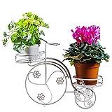 ZHAOJHJ Kreativer Blumen-Stand, Schmiedeeisen-Fahrrad-Topf-Gestell für Balkon Innen und im Freien Büro-Anlagen-Präsentationsständer (weiß)
