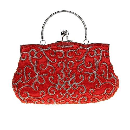 HWAN Elegante Weinlese Partei Kupplungs Hand bestickt Seed Frauen Perlen Abend Baguette Handtasche Rot (Wulstige Kupplung Hand)