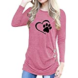 Save 45%~Clearance !!! YANG YI,Women's Casual Stylish Print Round Neck Button Long Sleeves Loose T-Shirt Tops