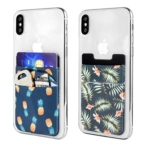 2d4e8f17e7a9 Newseego 2 Pack of Cell Phone Card Wallet [Double Pouch] Stick on Wallet  Card Holder Phone Pocket Pouch Stretchy Phone Sleeve for iPhone, Android &  ...