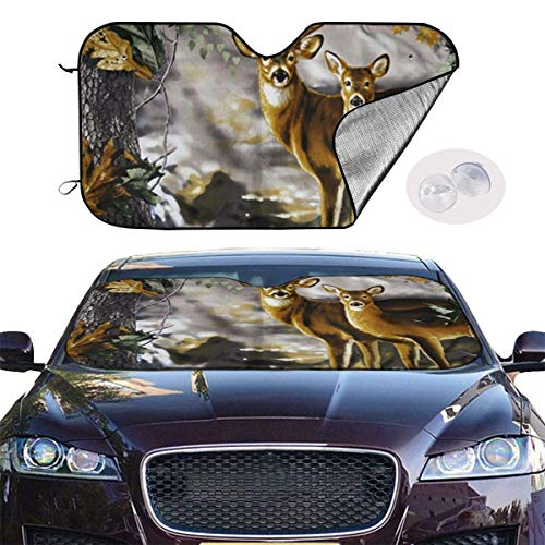 mchmcgm Sonnenschirm Abdeckung Real Tree Camouflage Deer Auto Windwhield Sun Shades Universal Fit 51.2 X 27.6 Inch Window Keep Your Vehicle Cool Visor for SUV Sunshade Cover