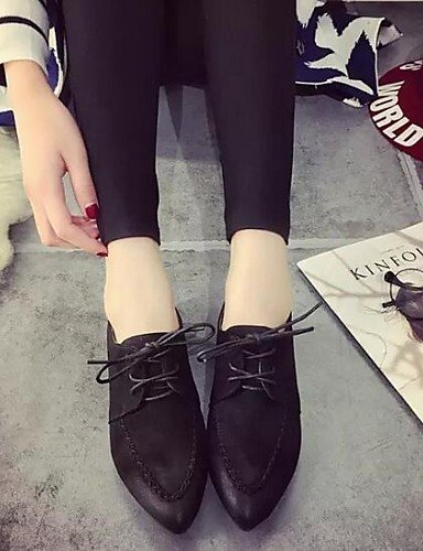 ZQ hug Scarpe Donna - Sneakers alla moda - Tempo libero / Formale - Comoda / A punta - Piatto - Finta pelle - Nero / Grigio / Kaki , gray-us8.5 / eu39 / uk6.5 / cn40 , gray-us8.5 / eu39 / uk6.5 / cn40 gray-us6 / eu36 / uk4 / cn36