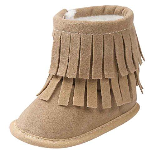 LCLrute Qualität Baby Warm Warm Double-Deck Quasten Weiche Sohle Schneeschuhe Weiche Krippe Schuhe Kleinkind Stiefel (12, Khaki) (Deck Einfarbiges)