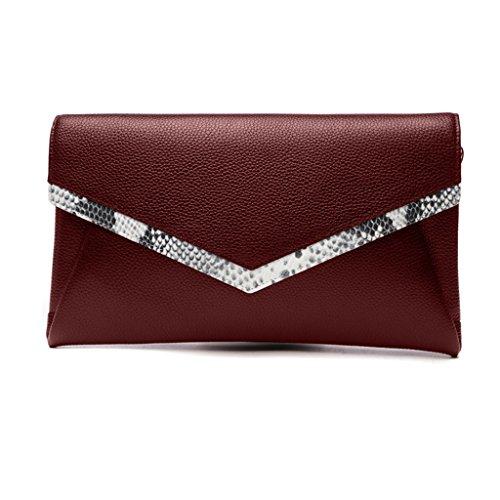 Home Monopoly Borsa donna frizione femmina molla borsa azienda borsa grande borsa capacità borsa / con cinghia di spalla ( Colore : Vino rosso ) Vino rosso