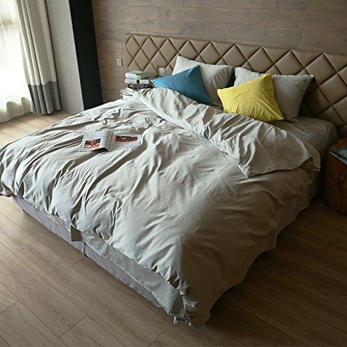 LongYu Quilt Kissenbezug Baumwolle Vierteiliges Set Bett Futter Einfache Mode Einfarbig grau High-End Komfortabel (Size : 1.5M)