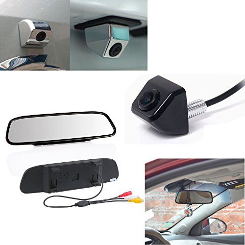Forepin® KFZ 4.3' Zoll TFT LCD Auto Monitor Rückspiegel + Auto Rückfahrkamera Einparkhilfe Rückfahrsystem (Schwarz)
