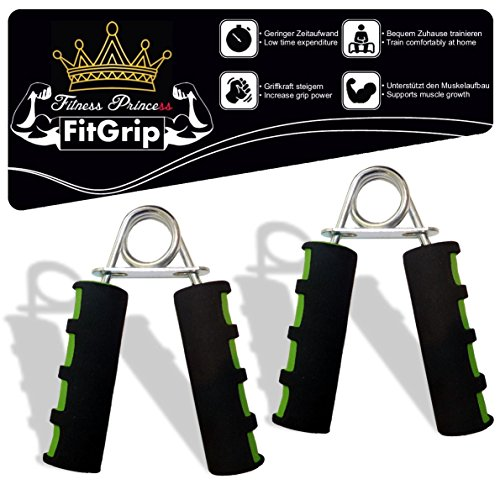 Fitness Prince FitGrip 2er Set Handtrainer ideal zur Stärkung der Handmuskulatur/Fingerhantel,Unterarmtrainer Griffkraft Trainingsgerät Armtrainer Fingertrainer