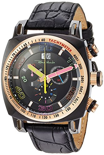 Ritmo Mundo Swiss Quartz Stainless Steel and Leather Casual Watch, Color:Black (Model: 2221/15)