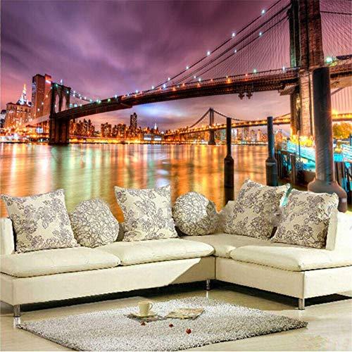 Zybnb Benutzerdefinierte 3D Poster Fototapete New York City Gebäude Nacht Wandmalereien Tapete Für Wohnzimmer Wandbild Tapete Wand 3D-120X100Cm