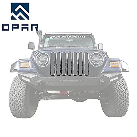 Opar Chrome Front Grill Inserts Trim for 1997 - 2006 Jeep Wrangler TJ & Unlimited (Pack of 7)