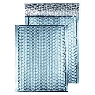 Purely Packaging Luftpolsterumschlag, Format C5+, 250x180mm, mit Haftklebeband, matt metallisch, Eisblau, 100Stück