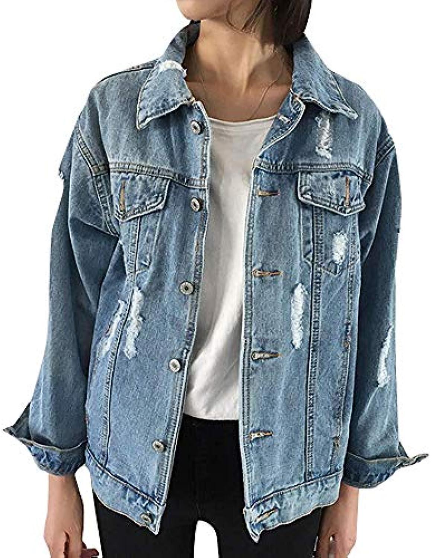 FuweiEncore Giacca da Bambina in Jeans Jeans in da Donna Giacca a Maniche  Lunghe a Maniche Lunghe in Jacquard Blu con Maniche... 936231 1ba23f0208a7