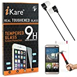 iKare Tempered Glass for HTC One M9 Plus, Tempered Screen Protector for HTC One M9 Plus + Black Stereo Earphone with Mic
