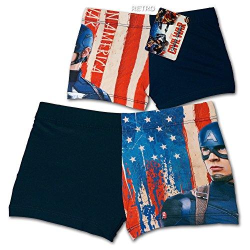 Marvel Avengers Captain America - Costume Boxer Short Mare Piscina - Civil War - Bambino - Novità Prodotto Originale 3199 [Blu - 4 anni]