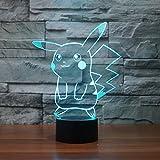 Lampe LED 3D Illusion Pokemon Go Pikachu Lampe de table Lampe de lecture Changement de couleur Veilleuse cadeau
