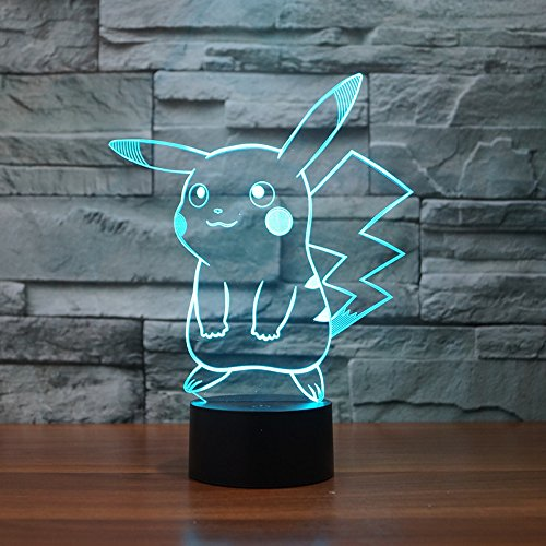RunFar 3D Night Light, Pikachu Lamp 7 Color Change