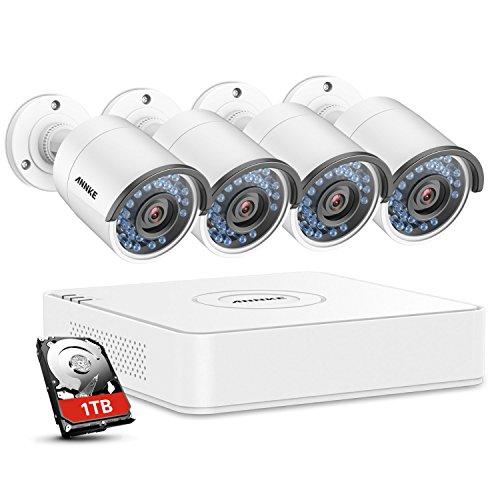1280960P-HD-ANNKE-Kit-de-4-Cmaras-de-Vigilancia-Seguridad-Onvif-H264-CCTV-DVR-P2P-4CH-AHD-960P-y-4-Cmaras-960P-13MP-IP66-Impermeable-IR-Cut-Visin-Nocturna-Hasta-20M-Exterior-y-Interior