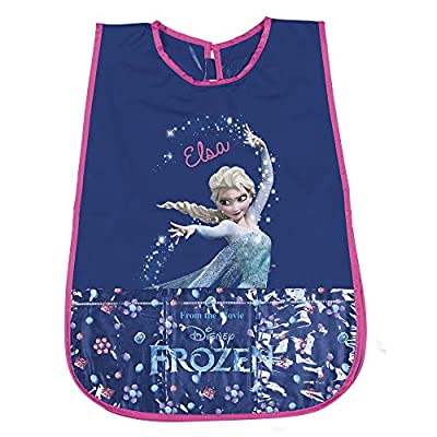 PERLETTI Delantal Infantil de Disney Frozen Elsa - Bata Escolar Impermeable Bolsillo Delantero - Ideal para Mantener la Ropa Limpia y Seca para niña niñas- 3-5 años - Azul Rosa por PERLETTI