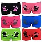 6er Pack Seamless Hotpants Panty Mikrofaser mit Stop Händen Unterwäsche Dessous, Größe:S-M = 36/38