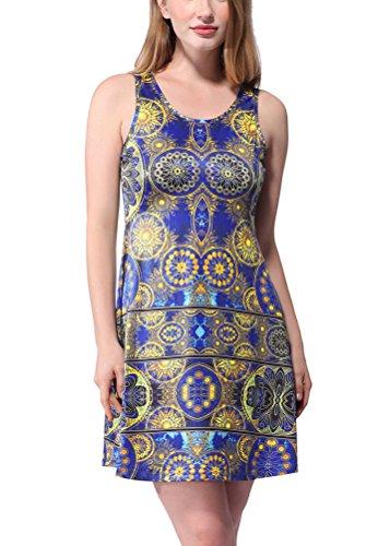 SMITHROAD Damen Minikleid mit Muster Boho Shirtkleid Ärmellos Rundhals mit Stretch Bunt Blau Gelb Gr.34-44 Gelb