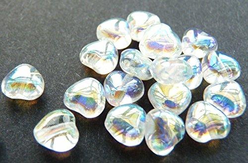 40(PCS) X 6mm Herz Tschechische Glas Spacer Beads-Kristalle AB-w065 - Kristall Gläser Tschechische