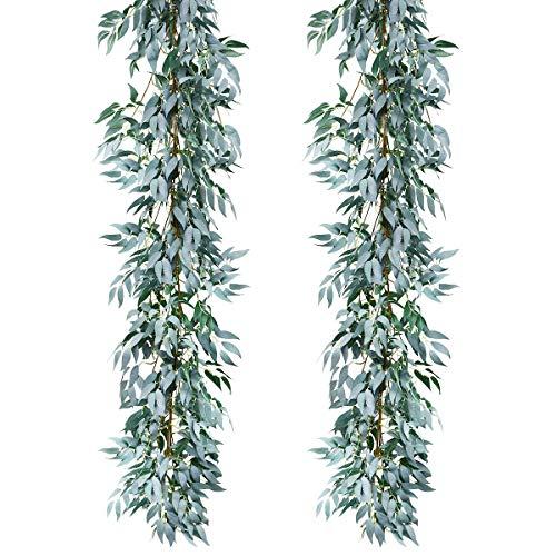 Sunm boutique Künstliche Weidenblätter zum Aufhängen, für drinnen und draußen, Grün, 2 Stück 2 Pcs grau (Thanksgiving Verlässt Zu)