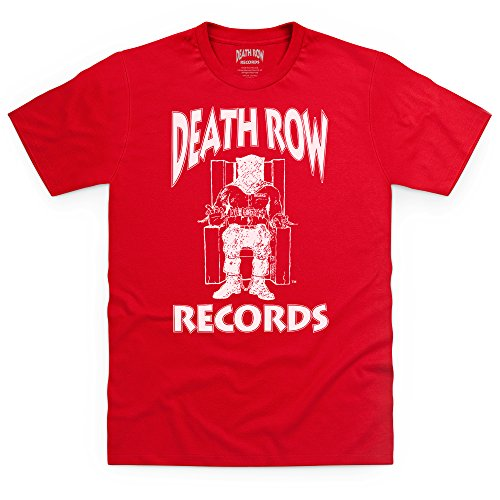 Official Death Row Records Logo White T-Shirt, Herren, Rot, L -
