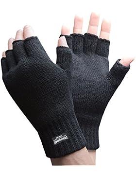 Thinsulate - Hombre negros neive manoplas guantes sin dedos para frio y iphone