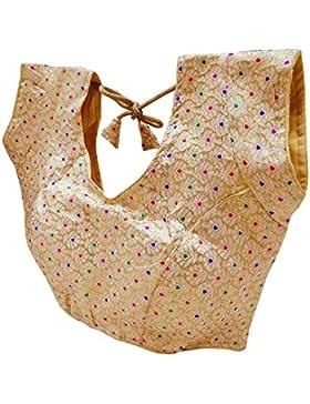 India Tradicional Almohadillado Readymade Saree Blusa Étnico Moda Brocado Mujeres Cultivos Cima