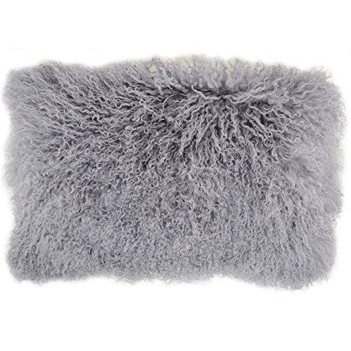 Snugrugs Kissenbezug mit Innenkissen, mongolisches, langes, gelocktes Schafsfell, grau, 30cm x 50cm