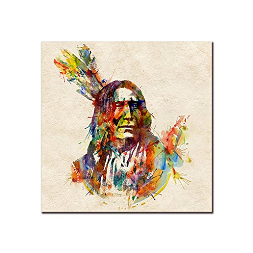 Demino Indian Chief Bunte Federn Ölgemälde Inder Leinwand-Wand-Kunst-Plakat Unframed Man Oil Zeichnung Bild 40x40cm Chief Wand